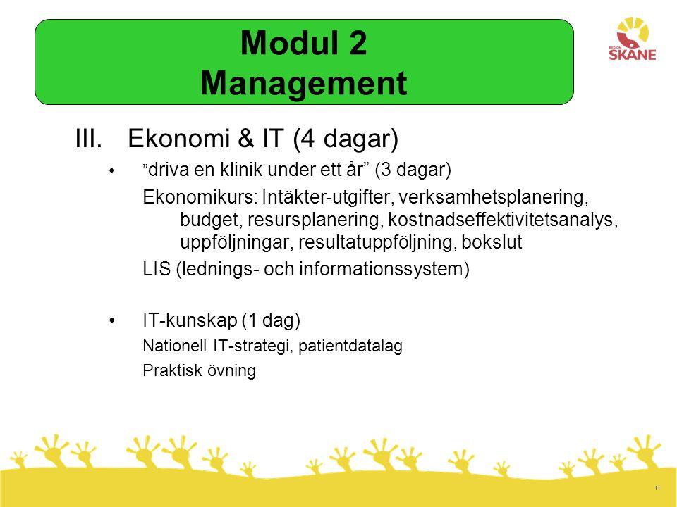 11 III.Ekonomi & IT (4 dagar) driva en klinik under ett år (3 dagar) Ekonomikurs: Intäkter-utgifter, verksamhetsplanering, budget, resursplanering, kostnadseffektivitetsanalys, uppföljningar, resultatuppföljning, bokslut LIS (lednings- och informationssystem) IT-kunskap (1 dag) Nationell IT-strategi, patientdatalag Praktisk övning Modul 2 Management
