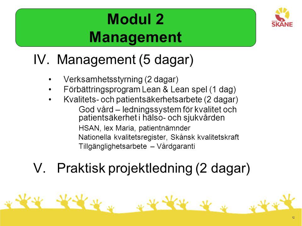 12 IV.Management (5 dagar) Verksamhetsstyrning (2 dagar) Förbättringsprogram Lean & Lean spel (1 dag) Kvalitets- och patientsäkerhetsarbete (2 dagar) God vård – ledningssystem för kvalitet och patientsäkerhet i hälso- och sjukvården HSAN, lex Maria, patientnämnder Nationella kvalitetsregister, Skånsk kvalitetskraft Tillgänglighetsarbete – Vårdgaranti V.Praktisk projektledning (2 dagar) Modul 2 Management