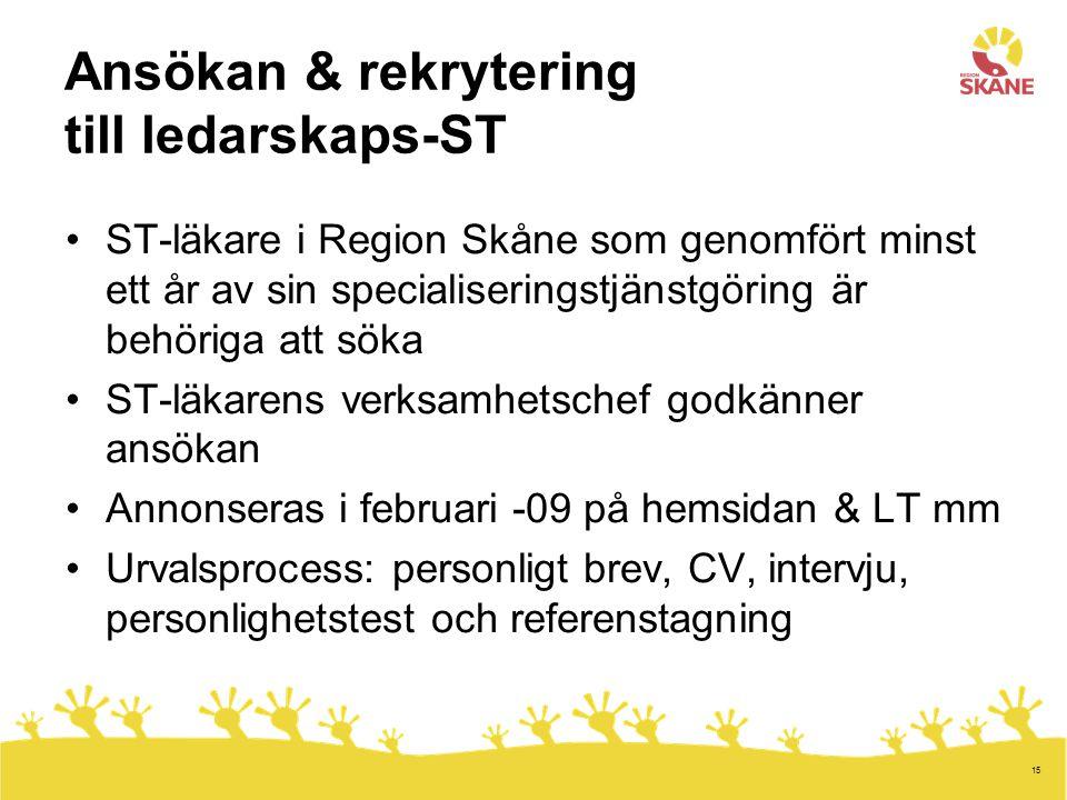 15 Ansökan & rekrytering till ledarskaps-ST ST-läkare i Region Skåne som genomfört minst ett år av sin specialiseringstjänstgöring är behöriga att söka ST-läkarens verksamhetschef godkänner ansökan Annonseras i februari -09 på hemsidan & LT mm Urvalsprocess: personligt brev, CV, intervju, personlighetstest och referenstagning