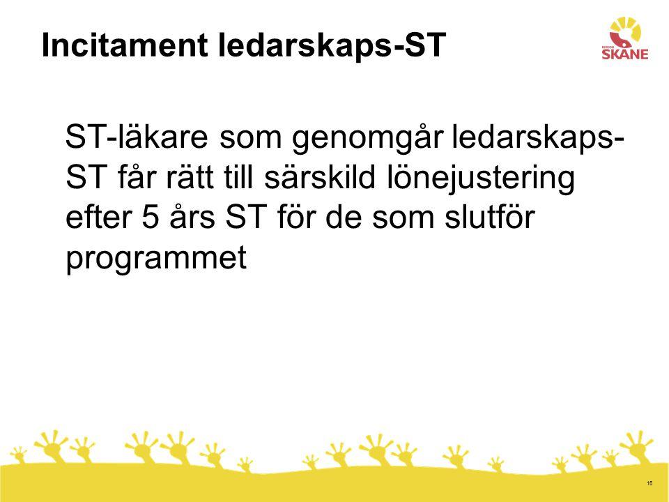16 Incitament ledarskaps-ST ST-läkare som genomgår ledarskaps- ST får rätt till särskild lönejustering efter 5 års ST för de som slutför programmet