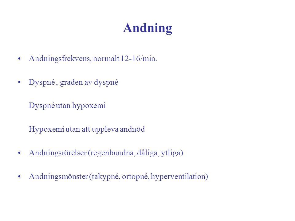 Andning Andningsfrekvens, normalt 12-16/min. Dyspné, graden av dyspné Dyspné utan hypoxemi Hypoxemi utan att uppleva andnöd Andningsrörelser (regenbun