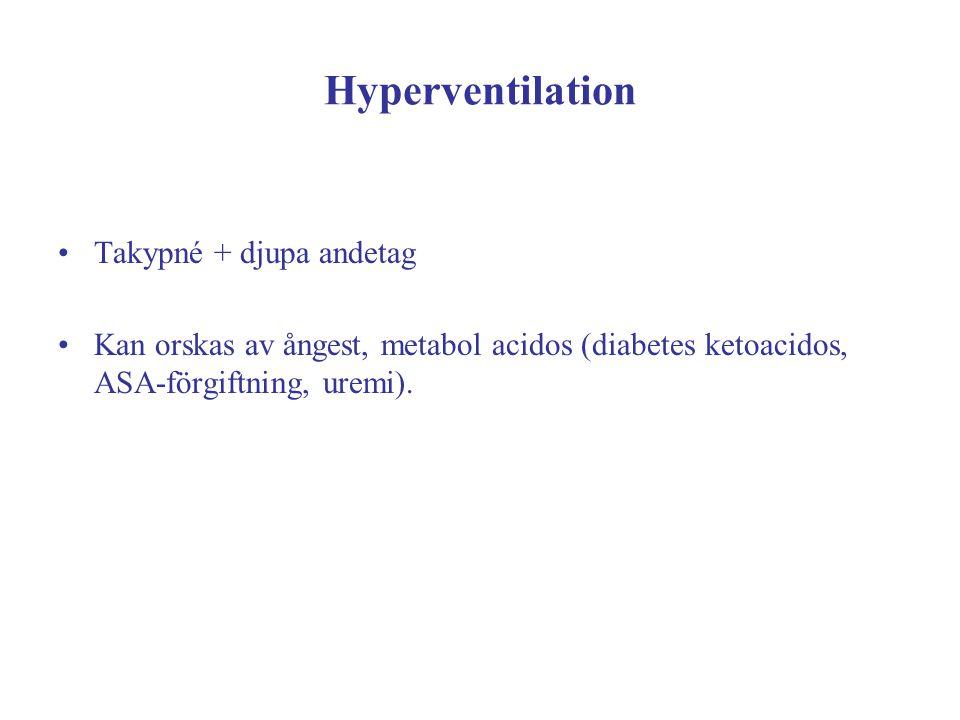 Hyperventilation Takypné + djupa andetag Kan orskas av ångest, metabol acidos (diabetes ketoacidos, ASA-förgiftning, uremi).