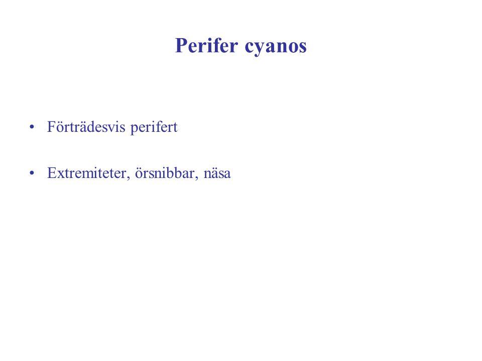 Perifer cyanos Förträdesvis perifert Extremiteter, örsnibbar, näsa