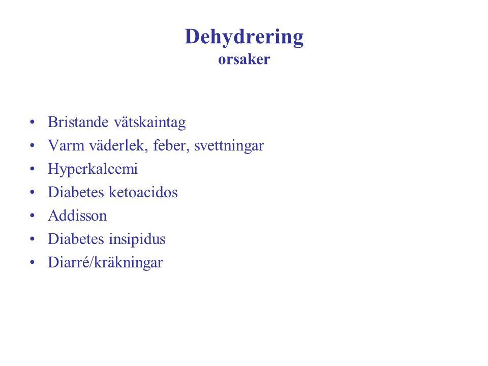 Dehydrering orsaker Bristande vätskaintag Varm väderlek, feber, svettningar Hyperkalcemi Diabetes ketoacidos Addisson Diabetes insipidus Diarré/kräkni