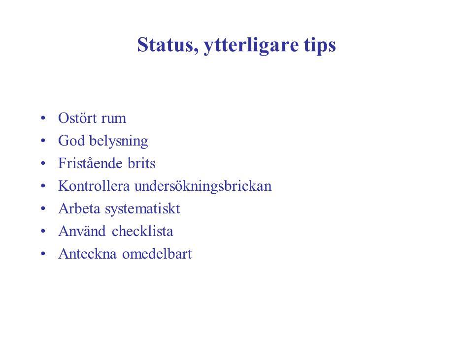 Status, ytterligare tips Ostört rum God belysning Fristående brits Kontrollera undersökningsbrickan Arbeta systematiskt Använd checklista Anteckna ome