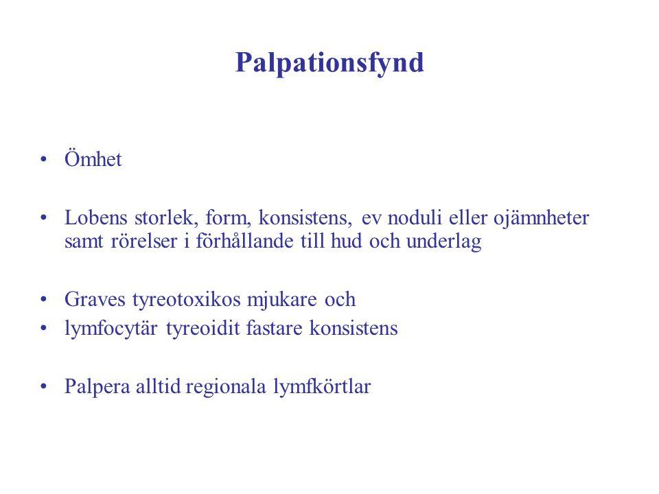 Palpationsfynd Ömhet Lobens storlek, form, konsistens, ev noduli eller ojämnheter samt rörelser i förhållande till hud och underlag Graves tyreotoxiko