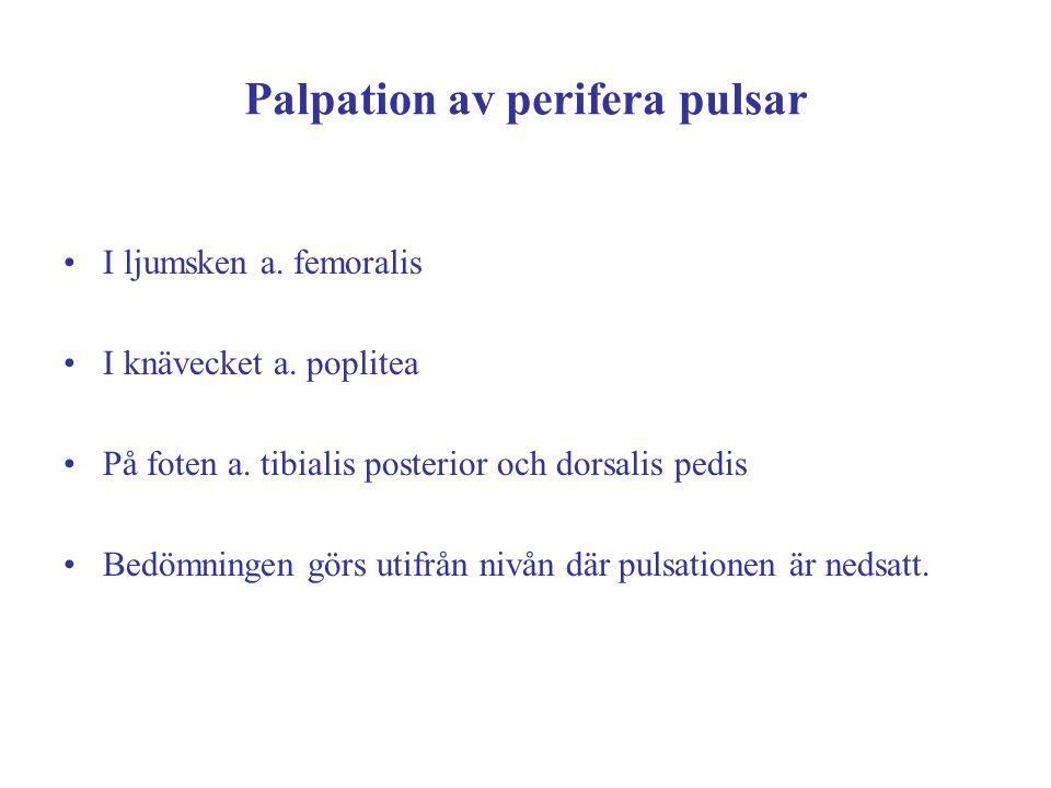 Palpation av perifera pulsar I ljumsken a. femoralis I knävecket a. poplitea På foten a. tibialis posterior och dorsalis pedis Bedömningen görs utifrå