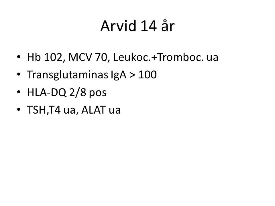 Arvid 14 år Hb 102, MCV 70, Leukoc.+Tromboc. ua Transglutaminas IgA > 100 HLA-DQ 2/8 pos TSH,T4 ua, ALAT ua
