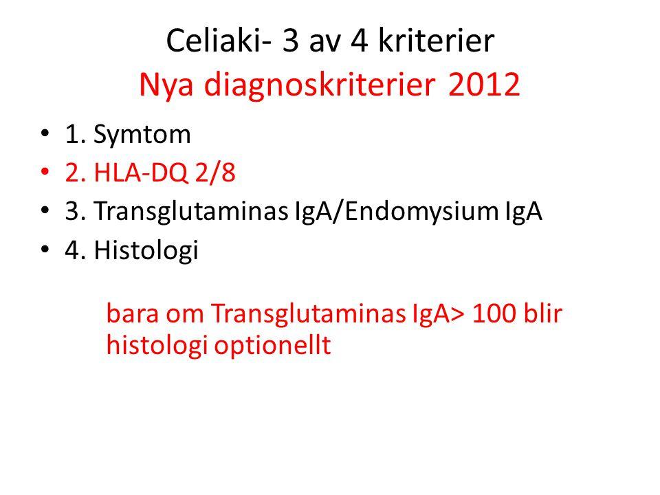 Celiaki- 3 av 4 kriterier Nya diagnoskriterier 2012 1. Symtom 2. HLA-DQ 2/8 3. Transglutaminas IgA/Endomysium IgA 4. Histologi bara om Transglutaminas