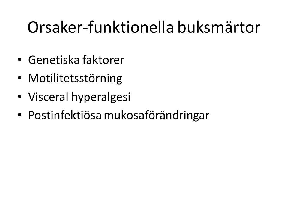 Orsaker-funktionella buksmärtor Genetiska faktorer Motilitetsstörning Visceral hyperalgesi Postinfektiösa mukosaförändringar