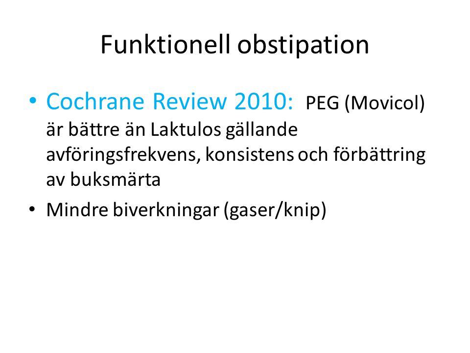 Funktionell obstipation Cochrane Review 2010: PEG (Movicol) är bättre än Laktulos gällande avföringsfrekvens, konsistens och förbättring av buksmärta