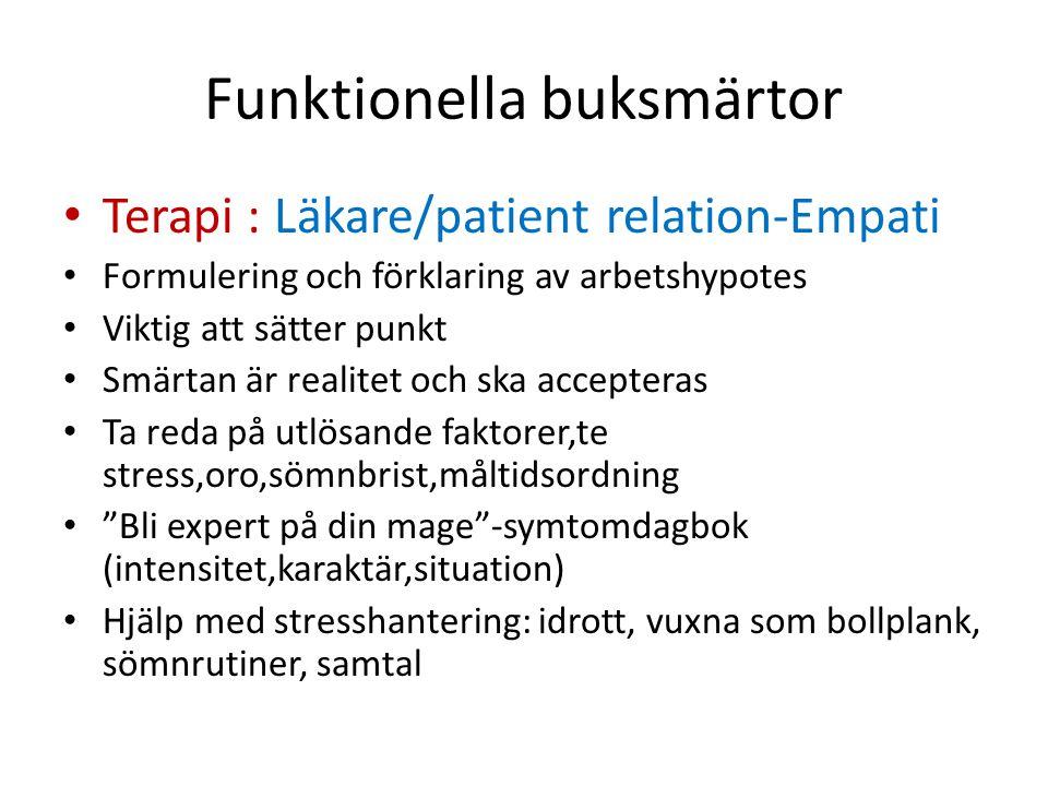 Funktionella buksmärtor Terapi : Läkare/patient relation-Empati Formulering och förklaring av arbetshypotes Viktig att sätter punkt Smärtan är realite