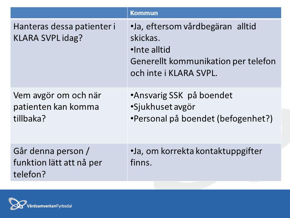 Kommun Hanteras dessa patienter i KLARA SVPL idag? Ja, eftersom vårdbegäran alltid skickas. Inte alltid Generellt kommunikation per telefon och inte i