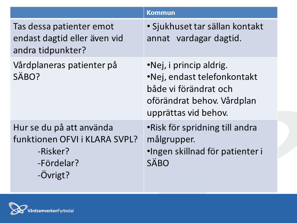 Kommun Tas dessa patienter emot endast dagtid eller även vid andra tidpunkter? Sjukhuset tar sällan kontakt annat vardagar dagtid. Vårdplaneras patien