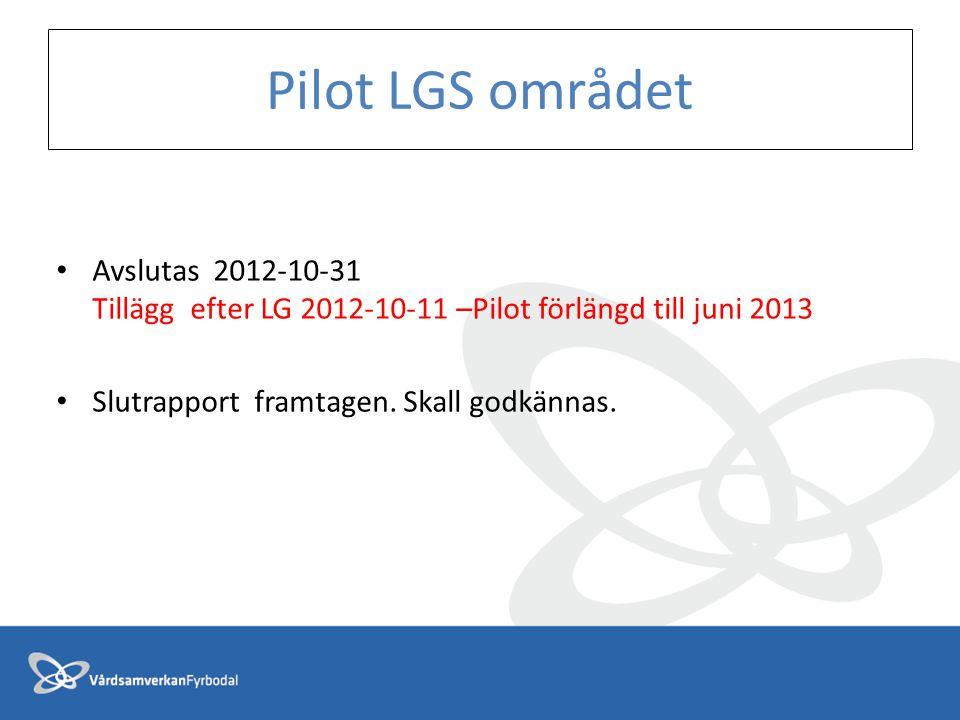 Pilot LGS området Avslutas 2012-10-31 Tillägg efter LG 2012-10-11 –Pilot förlängd till juni 2013 Slutrapport framtagen. Skall godkännas.