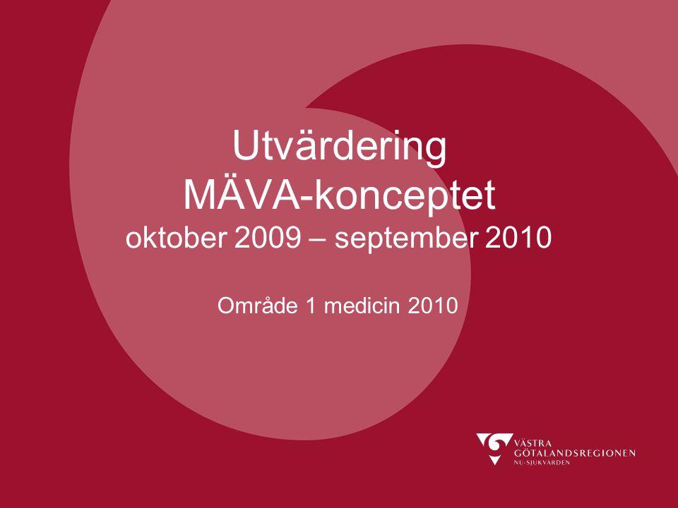 Utvärdering MÄVA-konceptet oktober 2009 – september 2010 Område 1 medicin 2010