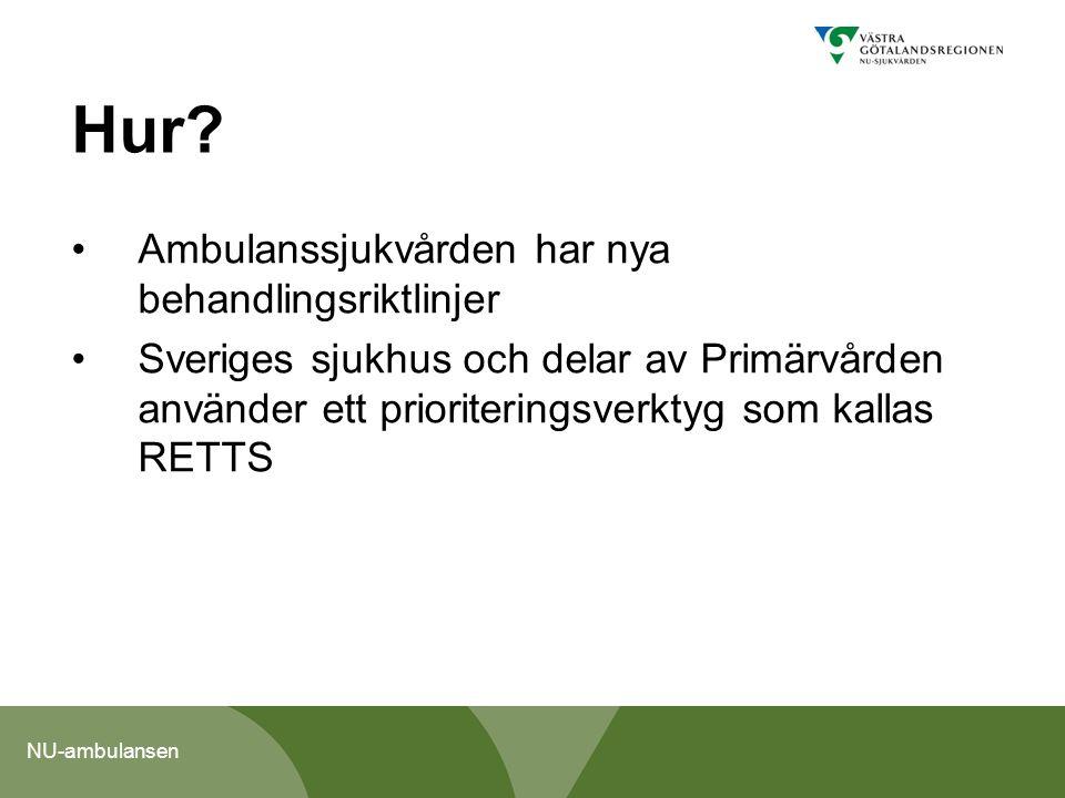 NU-ambulansen Nya behandlingsriktlinjer Patienten till rättvårdnivå Behandlingsriktlinjerna är reviderade 2013 - resten av Sverige sneglar och vill ta del Nytt är att ambulanspersonalen gör en ny värdering av patienten vid ankomsten