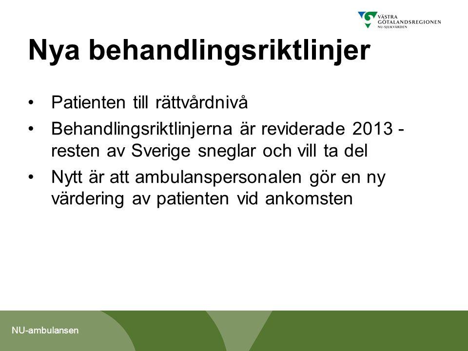 NU-ambulansen Nya behandlingsriktlinjer, forts Omvärdering kan göras gällande prioritet och transportsätt på plats av ambulanspersonalen Hänvisning av patienten till annan vårdnivå i dag eller under morgondagen Diskussioner om handläggning sker alltid i samråd med patient/anhörig