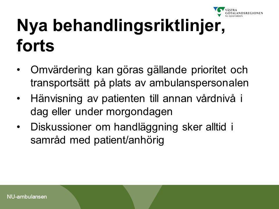 NU-ambulansen Nya behandlingsriktlinjer, forts Omvärdering kan göras gällande prioritet och transportsätt på plats av ambulanspersonalen Hänvisning av