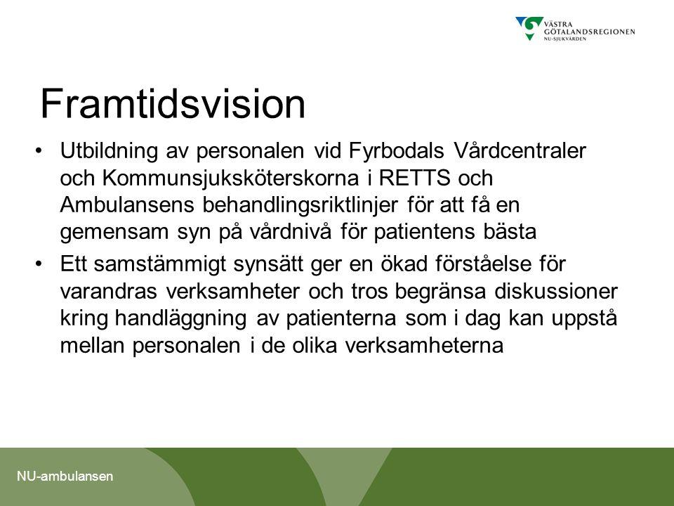 NU-ambulansen Framtidsvision Utbildning av personalen vid Fyrbodals Vårdcentraler och Kommunsjuksköterskorna i RETTS och Ambulansens behandlingsriktli