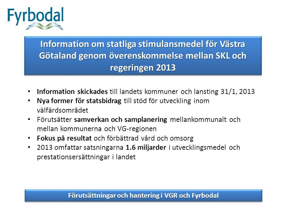 Information om statliga stimulansmedel för Västra Götaland genom överenskommelse mellan SKL och regeringen 2013 Information skickades till landets kom