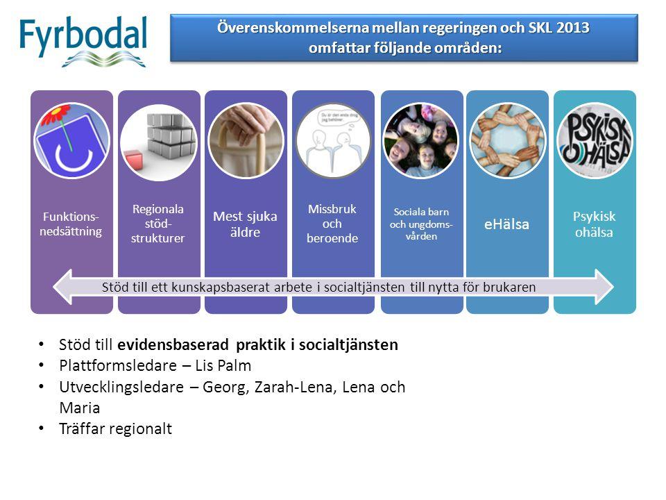 Stöd till ett kunskapsbaserat arbete i socialtjänsten till nytta för brukaren Överenskommelserna mellan regeringen och SKL 2013 omfattar följande områ