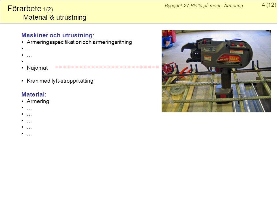 4(12) Byggdel: 27 Platta på mark - Armering Förarbete 1(2) Material & utrustning Maskiner och utrustning: Armeringsspecifikation och armeringsritning … Najomat Kran med lyft-stropp/kätting Material: Armering …