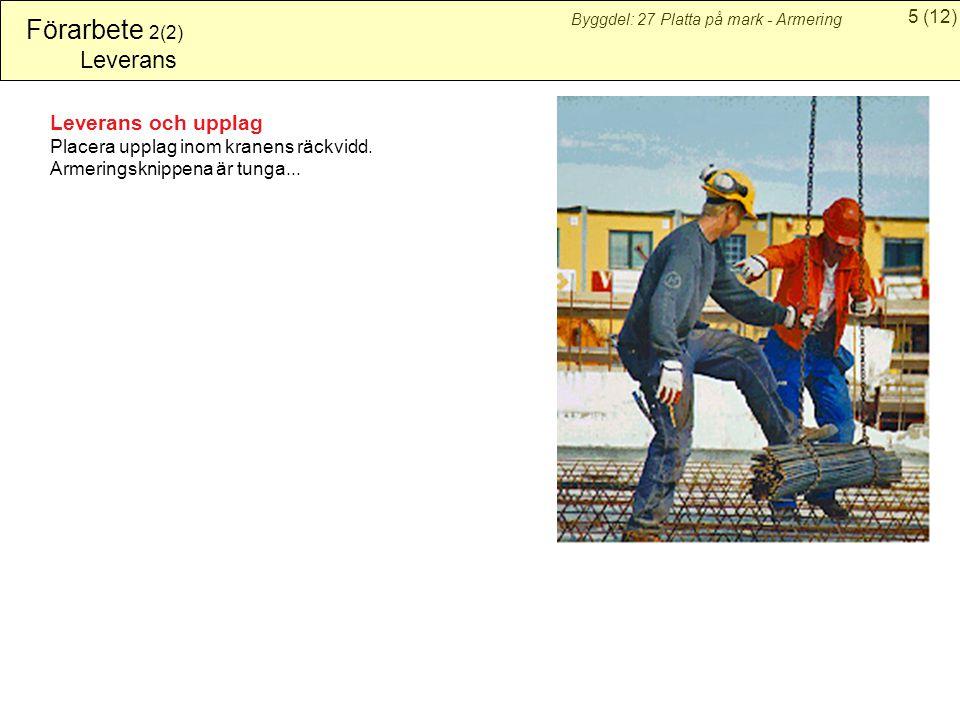 5(12) Byggdel: 27 Platta på mark - Armering Förarbete 2(2) Leverans Leverans och upplag Placera upplag inom kranens räckvidd.