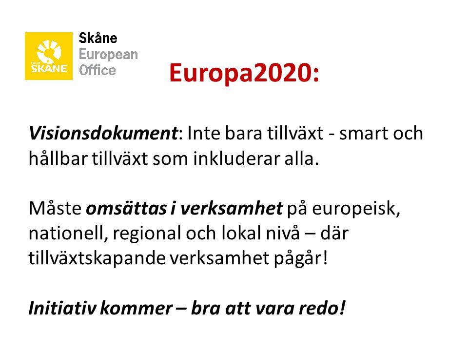 Europa2020: Visionsdokument: Inte bara tillväxt - smart och hållbar tillväxt som inkluderar alla. Måste omsättas i verksamhet på europeisk, nationell,