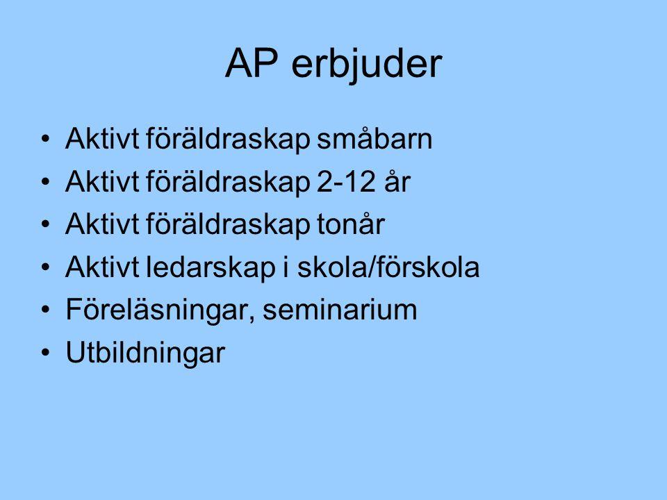 AP erbjuder Aktivt föräldraskap småbarn Aktivt föräldraskap 2-12 år Aktivt föräldraskap tonår Aktivt ledarskap i skola/förskola Föreläsningar, seminarium Utbildningar