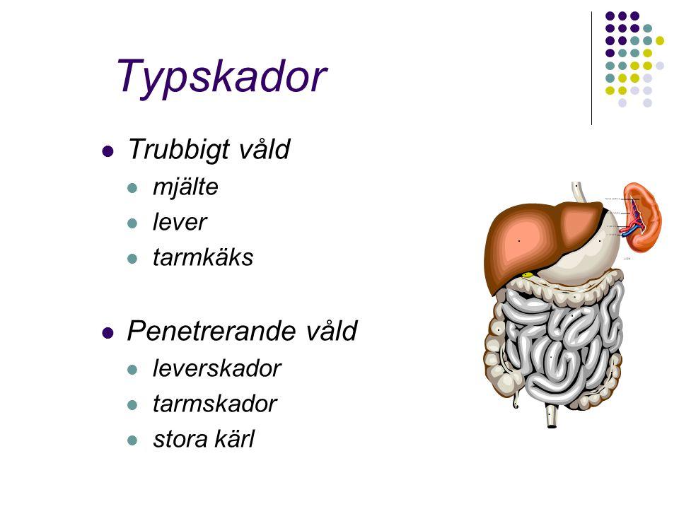 Typskador Trubbigt våld mjälte lever tarmkäks Penetrerande våld leverskador tarmskador stora kärl