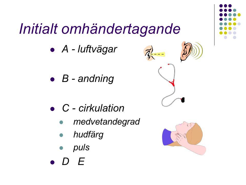 Initialt omhändertagande A - luftvägar B - andning C - cirkulation medvetandegrad hudfärg puls D E