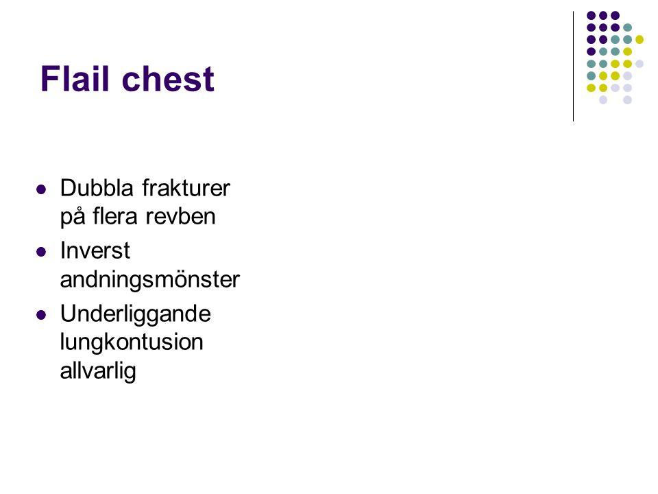 Flail chest Dubbla frakturer på flera revben Inverst andningsmönster Underliggande lungkontusion allvarlig