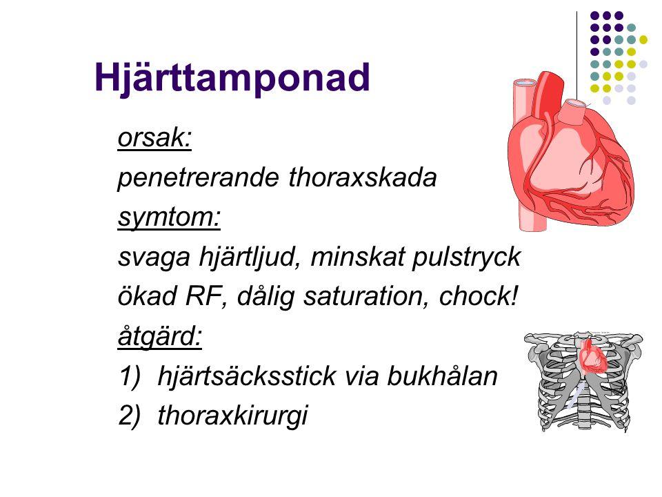 Hjärttamponad orsak: penetrerande thoraxskada symtom: svaga hjärtljud, minskat pulstryck ökad RF, dålig saturation, chock! åtgärd: 1) hjärtsäcksstick