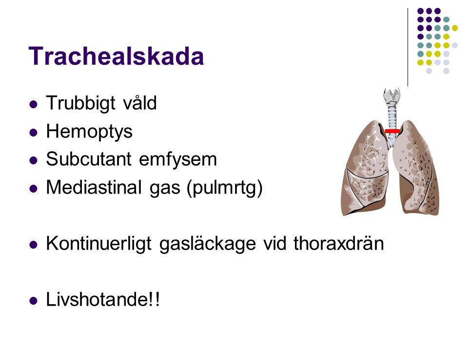 Trachealskada Trubbigt våld Hemoptys Subcutant emfysem Mediastinal gas (pulmrtg) Kontinuerligt gasläckage vid thoraxdrän Livshotande!!