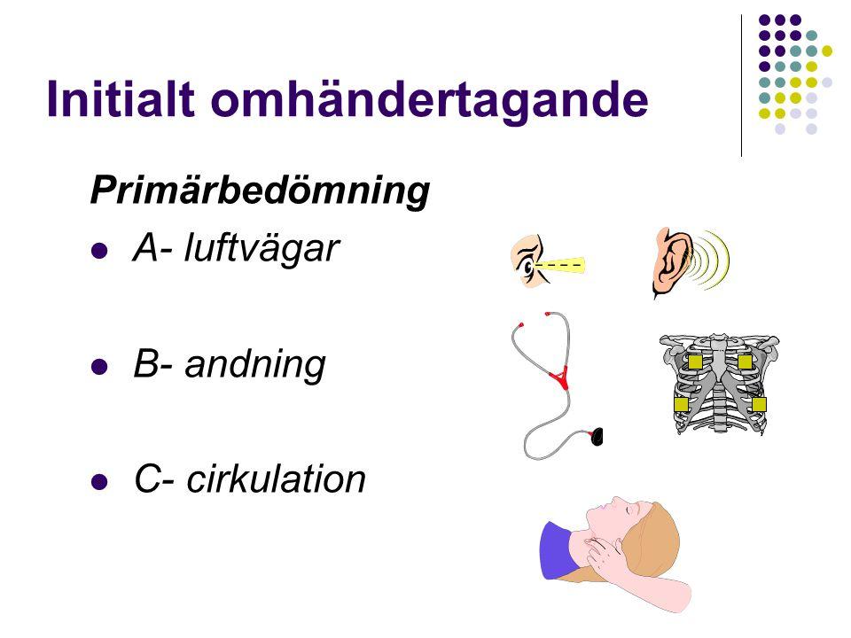 Initialt omhändertagande Primärbedömning A- luftvägar B- andning C- cirkulation