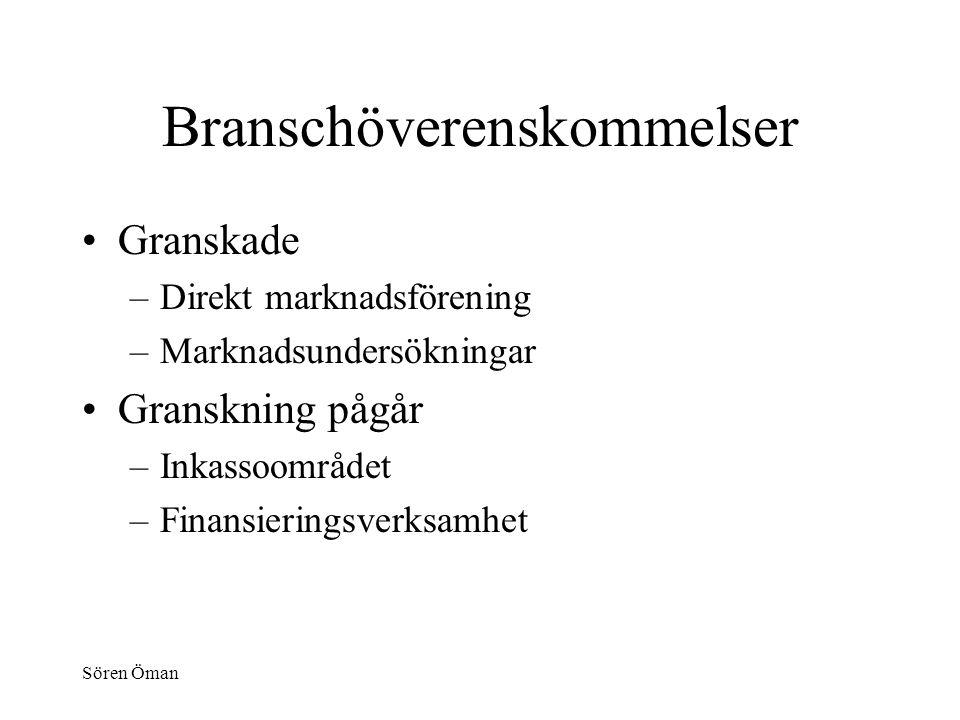 Sören Öman Branschöverenskommelser Granskade –Direkt marknadsförening –Marknadsundersökningar Granskning pågår –Inkassoområdet –Finansieringsverksamhet