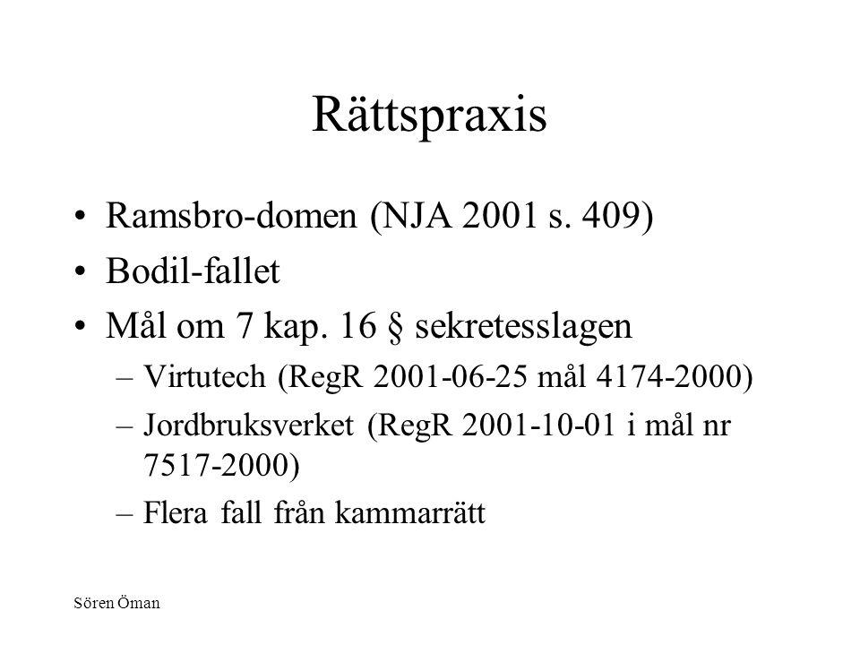 Sören Öman Rättspraxis Ramsbro-domen (NJA 2001 s. 409) Bodil-fallet Mål om 7 kap.