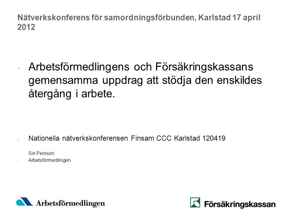 Nätverkskonferens för samordningsförbunden, Karlstad 17 april 2012 Arbetsförmedlingens och Försäkringskassans gemensamma uppdrag att stödja den enskildes återgång i arbete.