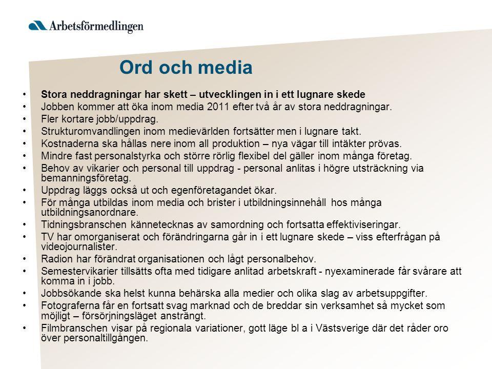 Ord och media Stora neddragningar har skett – utvecklingen in i ett lugnare skede Jobben kommer att öka inom media 2011 efter två år av stora neddragn