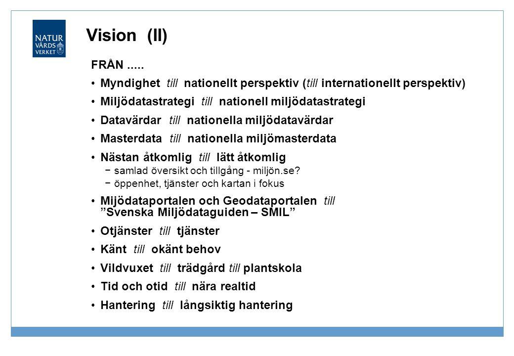 Vision (II) FRÅN..... Myndighet till nationellt perspektiv (till internationellt perspektiv) Miljödatastrategi till nationell miljödatastrategi Datavä