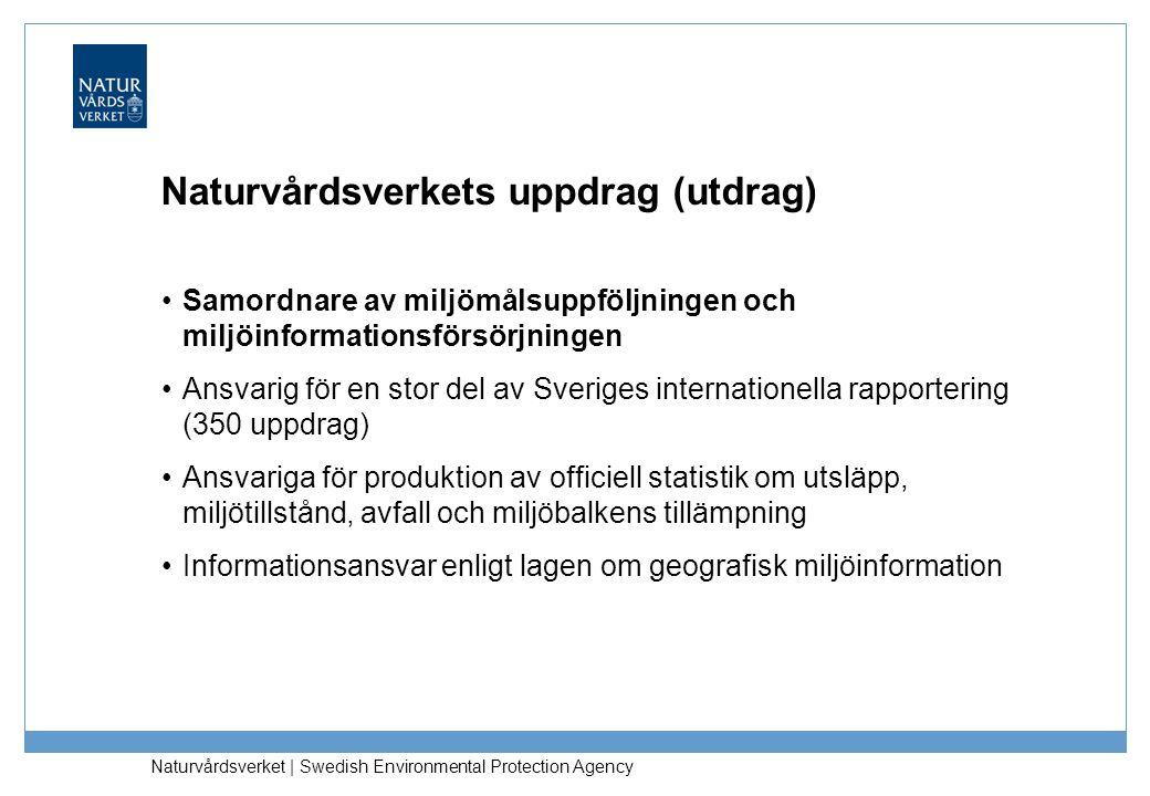 Samordnare av miljömålsuppföljningen och miljöinformationsförsörjningen Ansvarig för en stor del av Sveriges internationella rapportering (350 uppdrag