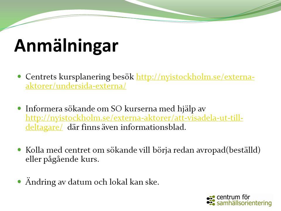 Anmälningar Centrets kursplanering besök http://nyistockholm.se/externa- aktorer/undersida-externa/http://nyistockholm.se/externa- aktorer/undersida-externa/ Informera sökande om SO kurserna med hjälp av http://nyistockholm.se/externa-aktorer/att-visadela-ut-till- deltagare/ där finns även informationsblad.