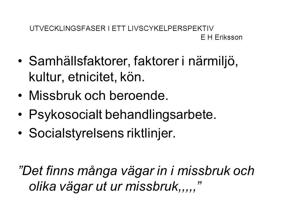 UTVECKLINGSFASER I ETT LIVSCYKELPERSPEKTIV E H Eriksson Samhällsfaktorer, faktorer i närmiljö, kultur, etnicitet, kön. Missbruk och beroende. Psykosoc