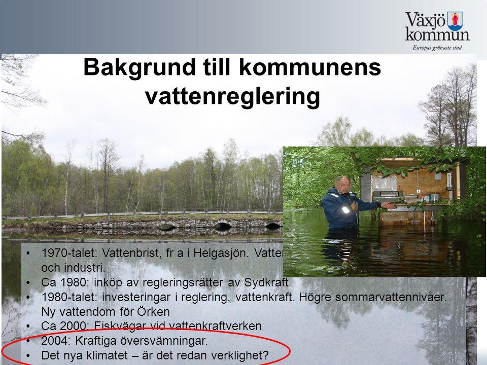 Bakgrund till kommunens vattenreglering 1970-talet: Vattenbrist, fr a i Helgasjön.