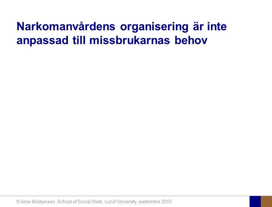 © Arne Kristiansen, School of Social Work, Lund University, september 2010 Narkomanvårdens organisering är inte anpassad till missbrukarnas behov