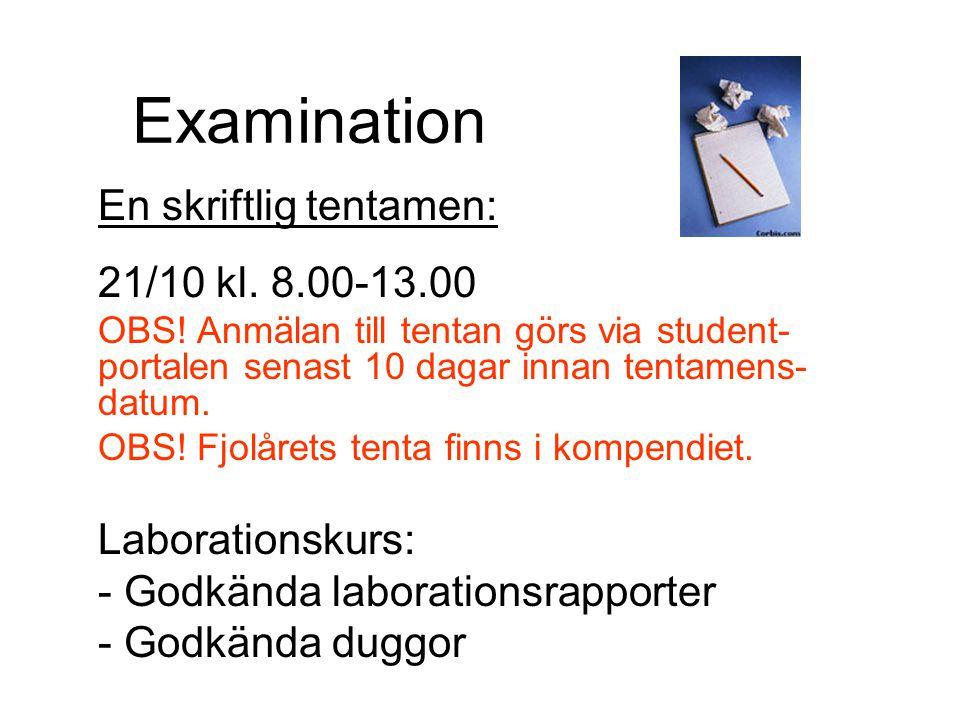Examination En skriftlig tentamen: 21/10 kl. 8.00-13.00 OBS! Anmälan till tentan görs via student- portalen senast 10 dagar innan tentamens- datum. OB
