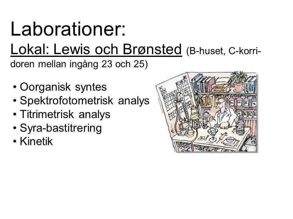 Laborationer: Lokal: Lewis och Brønsted (B-huset, C-korri- doren mellan ingång 23 och 25) Oorganisk syntes Spektrofotometrisk analys Titrimetrisk anal