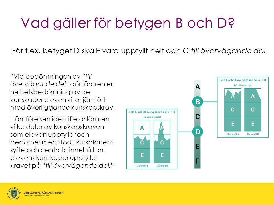 """Vad gäller för betygen B och D? För t.ex. betyget D ska E vara uppfyllt helt och C till övervägande del. """"Vid bedömningen av """"till övervägande del"""" gö"""
