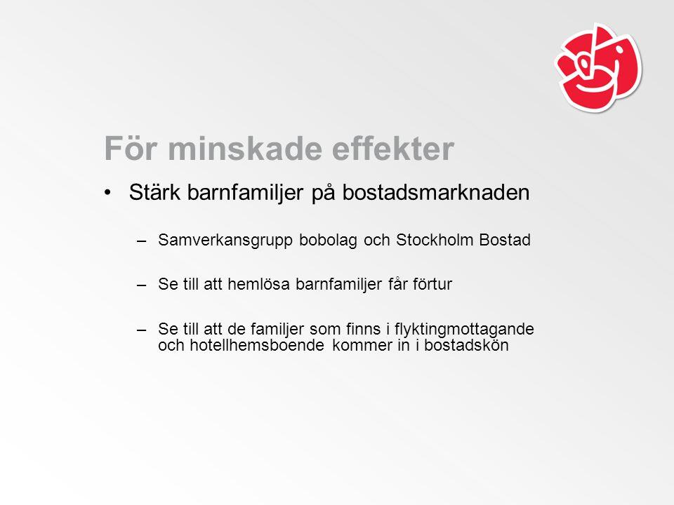 För minskade effekter Stärk barnfamiljer på bostadsmarknaden –Samverkansgrupp bobolag och Stockholm Bostad –Se till att hemlösa barnfamiljer får förtur –Se till att de familjer som finns i flyktingmottagande och hotellhemsboende kommer in i bostadskön